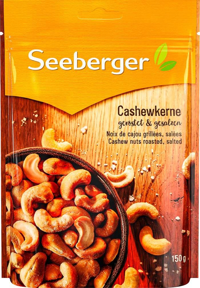 Abbildung des Sortimentsartikels Seeberger Cashewkerne geröstet, gesalzen 150g