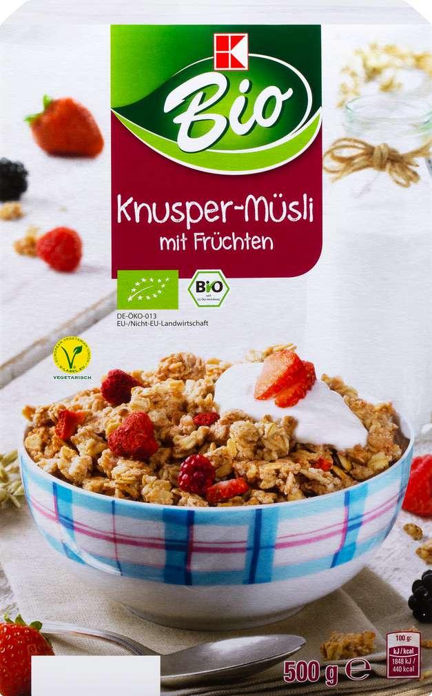 Abbildung des Sortimentsartikels K-Bio Knusper-Müsli mit Früchten 500g