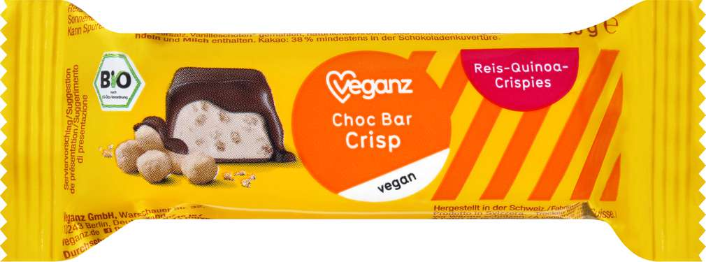 Abbildung des Sortimentsartikels Veganz Bio-Choc-Bar Choco Crisp vegan 40g