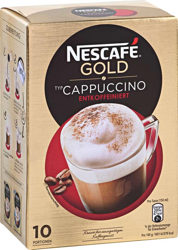 Abbildung des Sortimentsartikels Nescafé Gold Cappuccino entkoffeiniert 125g, 10 Portionen