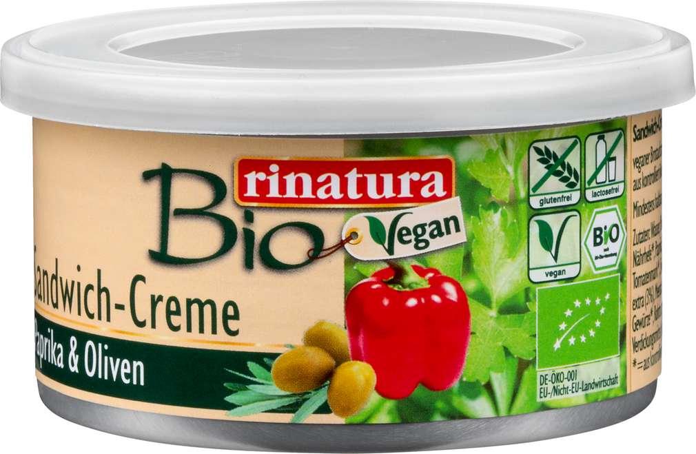Abbildung des Sortimentsartikels Rinatura Sandwich-Creme Paprika & Oliven 125g
