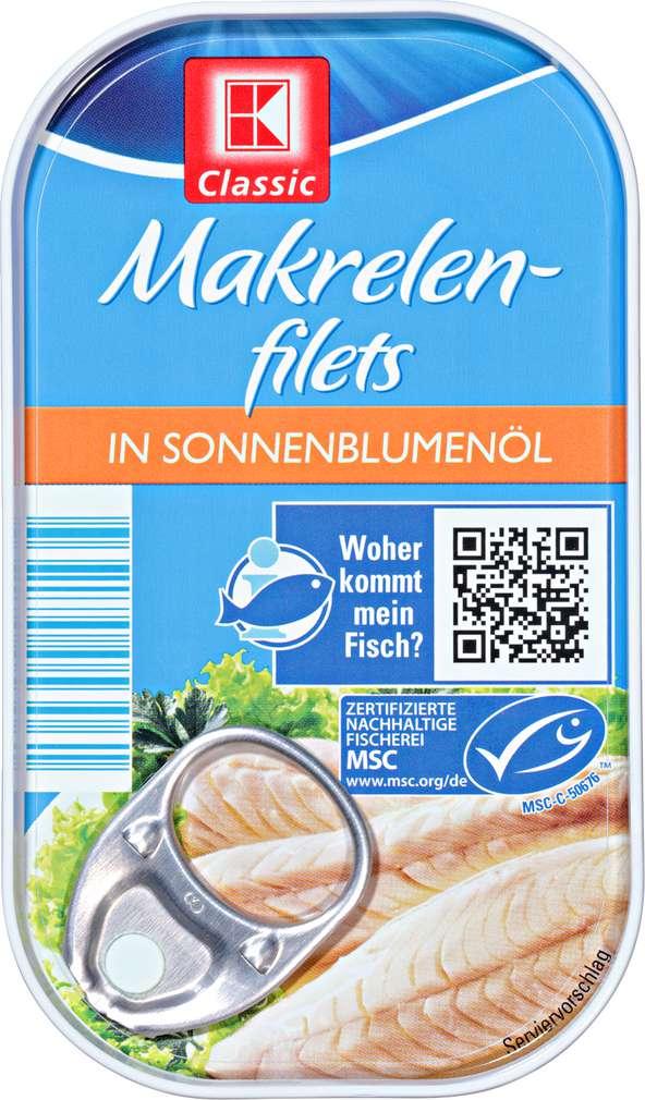 Abbildung des Sortimentsartikels K-Classic Makrelenfilets in Sonnenblumenöl 125g