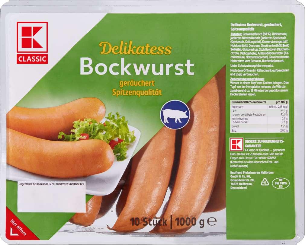 Abbildung des Sortimentsartikels K-Classic Delikatess Bockwurst 1000g