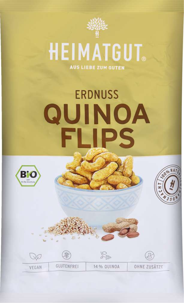 Abbildung des Sortimentsartikels Heimatgut Bio-Erdnuss Quinoa Flips 115g