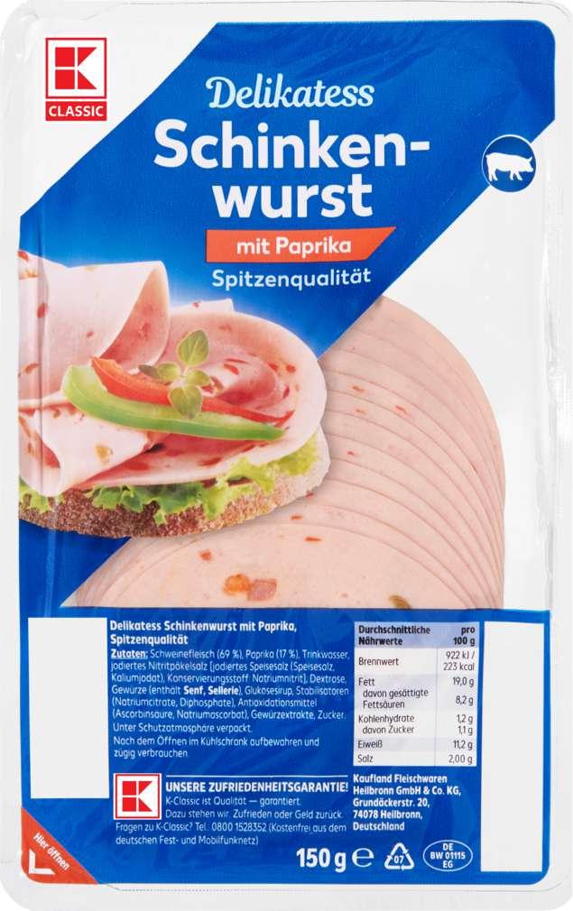 Abbildung des Sortimentsartikels K-Classic Delikatess Paprikaschinkenwurst 150g