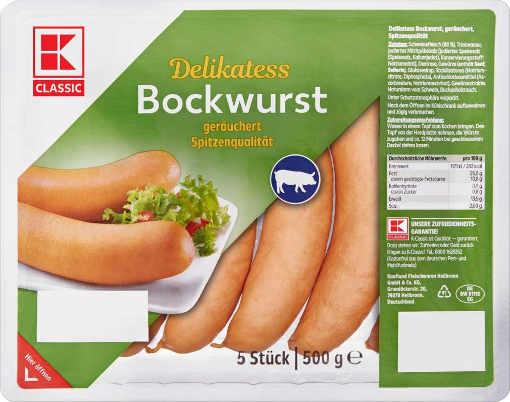 Abbildung des Sortimentsartikels K-Classic Delikatess Bockwurst 500g