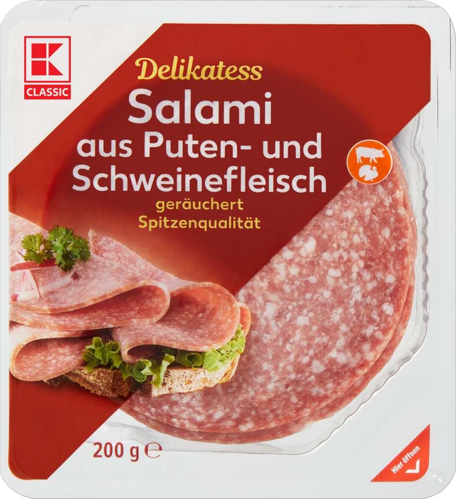 Abbildung des Sortimentsartikels K-Classic Putensalami mit Schweinefleisch 200g