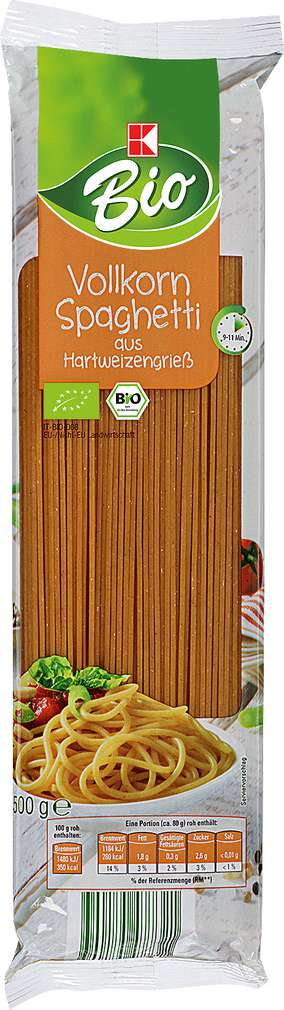 Abbildung des Sortimentsartikels K-Bio Vollkorn Spaghetti 500g