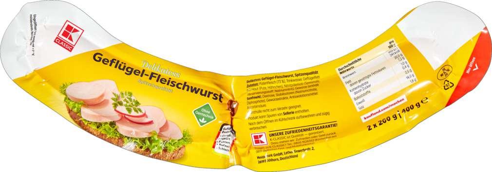 Abbildung des Sortimentsartikels K-Classic Geflügelfleischwurst 400g