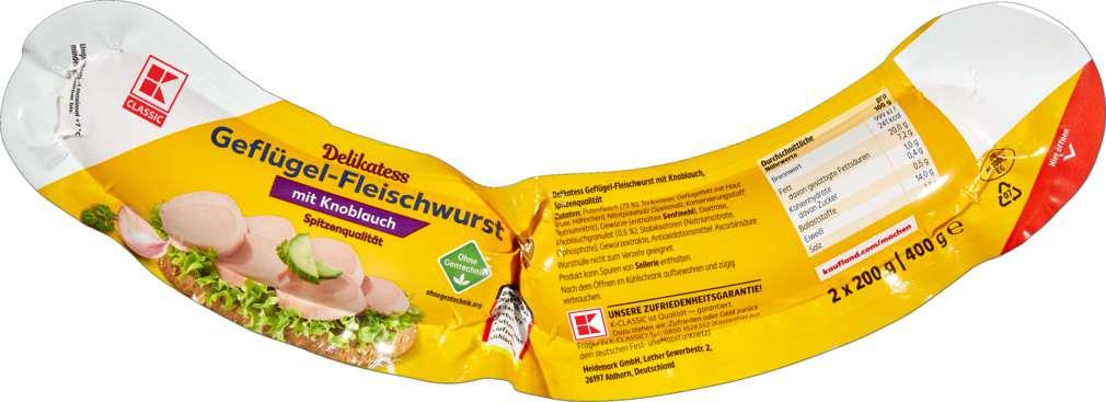 Abbildung des Sortimentsartikels K-Classic Geflügelfleischwurst mit Knoblauch 400g