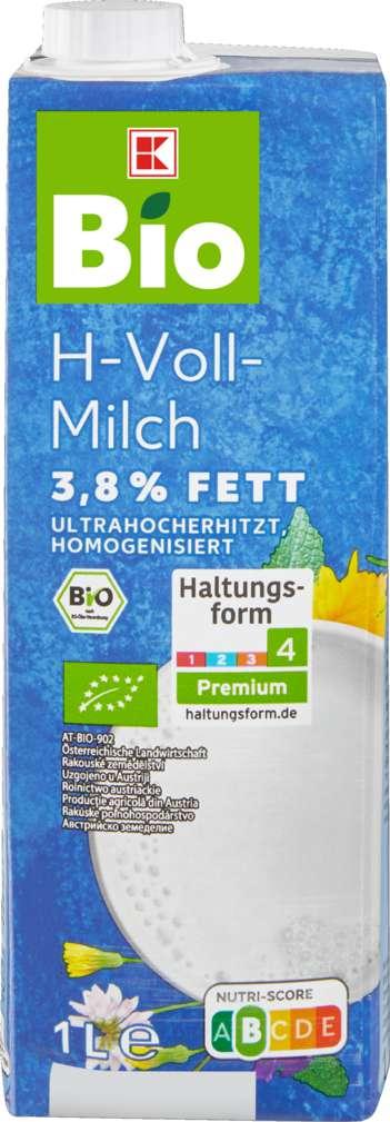 Abbildung des Sortimentsartikels K-Bio H-Vollmilch 3,8 % 1l