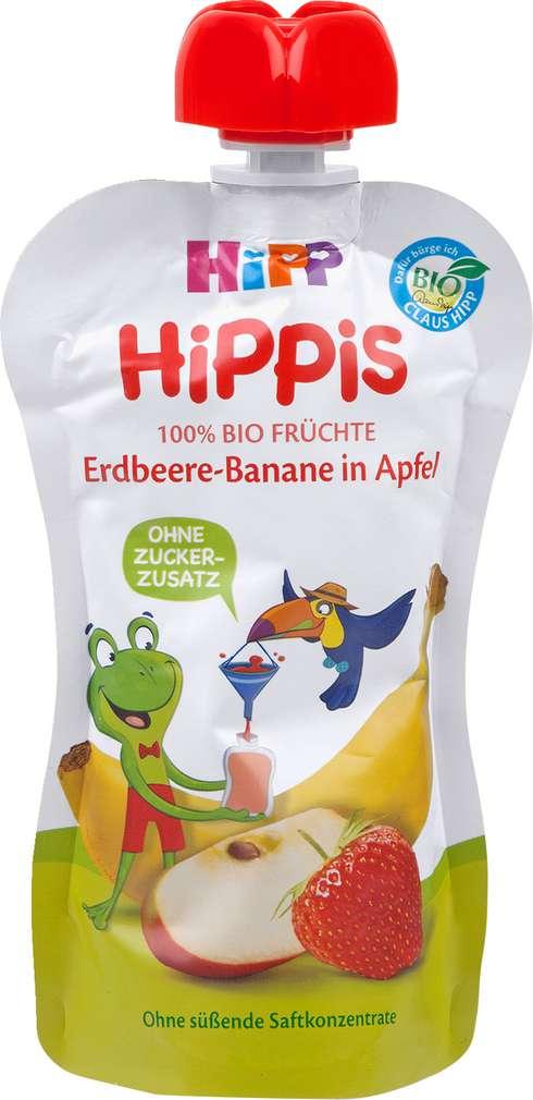Abbildung des Sortimentsartikels Hippis Erdbeere-Banane in Apfel 100g