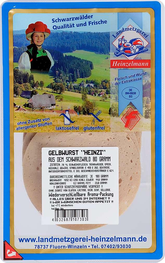 Abbildung des Sortimentsartikels Landmetzgerei Heinzelmann Gelbwurst 80g