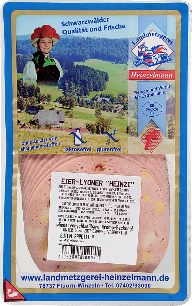 Abbildung des Sortimentsartikels Landmetzgerei Heinzelmann Eier-Lyoner 125g