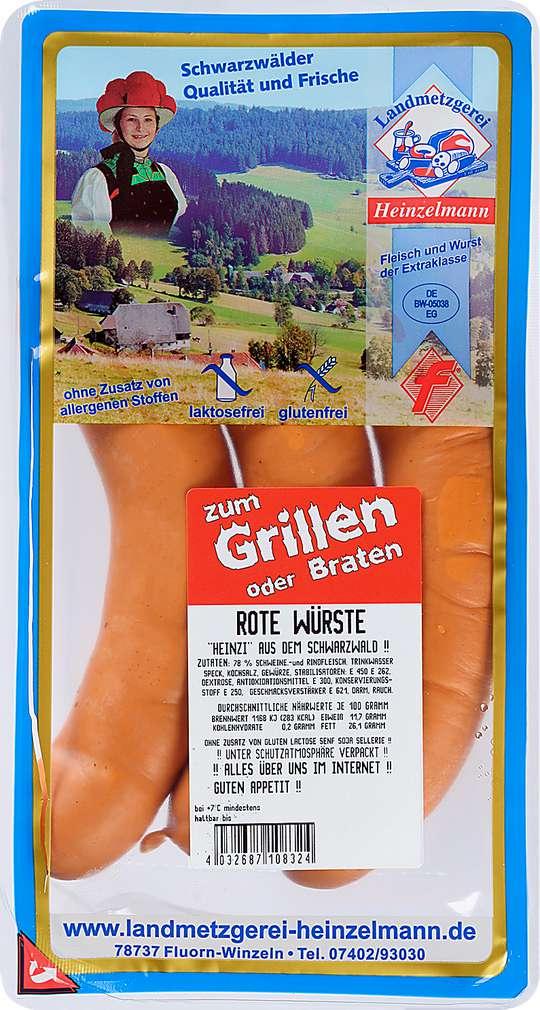 Abbildung des Sortimentsartikels Landmetzgerei Heinzelmann Rote Wurst 3x110g