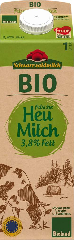 Abbildung des Sortimentsartikels Schwarzwaldmilch Bioland Fr.Heu-Milch 3,8% Fett 1,0l