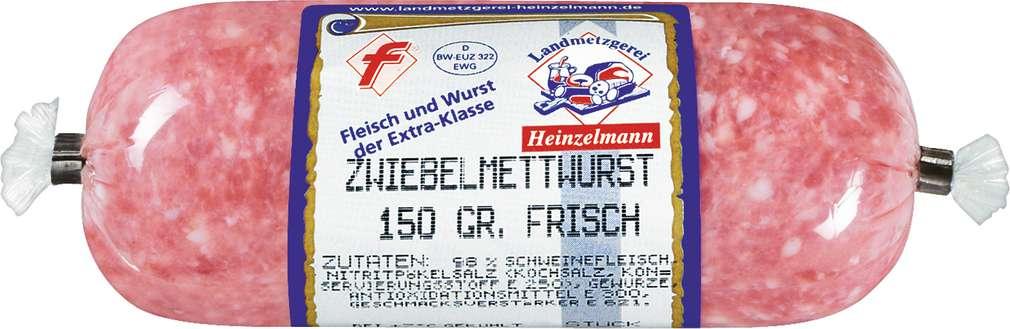 Abbildung des Sortimentsartikels Landmetzgerei Heinzelmann Zwiebelmettwurst 150g