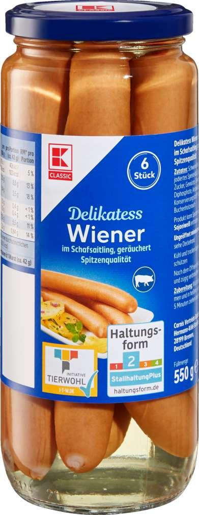 Abbildung des Sortimentsartikels K-Classic Wiener im Saitling 6 Stück 250g