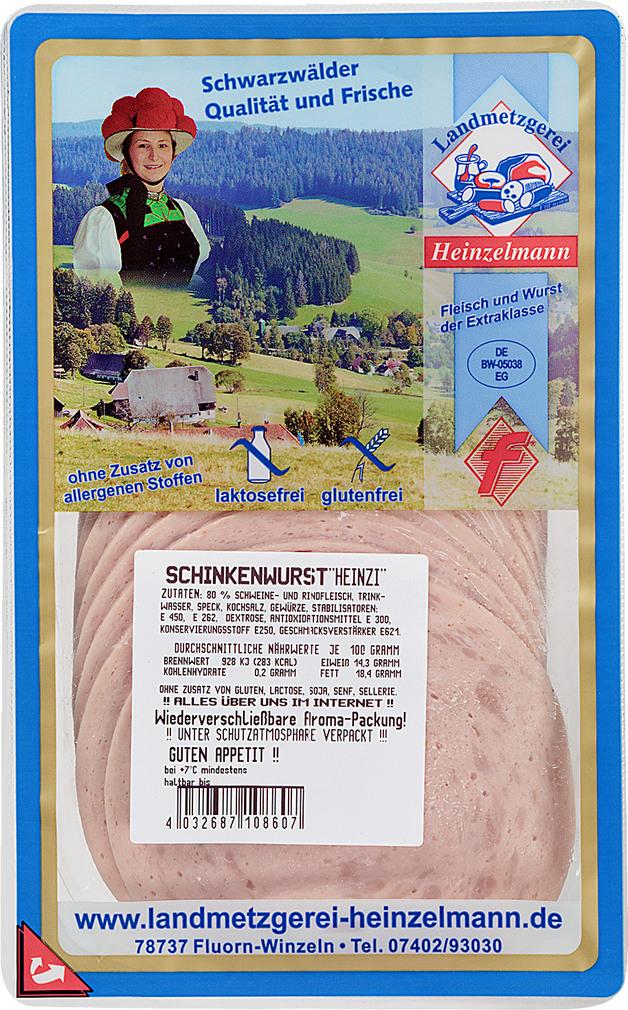 Abbildung des Sortimentsartikels Landmetzgerei Heinzelmann Schinkenwurst 125g