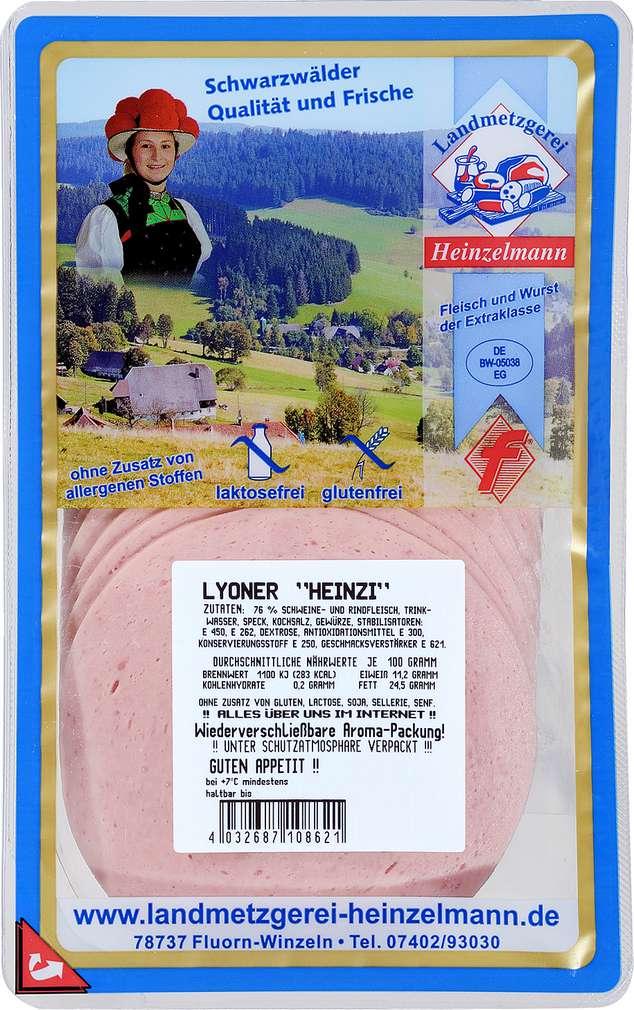 Abbildung des Sortimentsartikels Landmetzgerei Heinzelmann Lyoner 125g