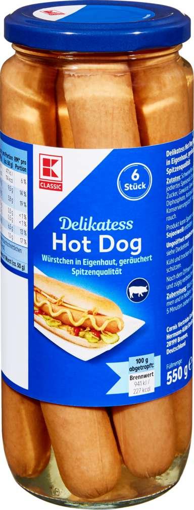Abbildung des Sortimentsartikels K-Classic Hot Dogs 6 Stück in Eigenhaut 300g