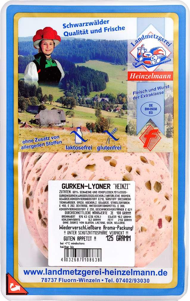 Abbildung des Sortimentsartikels Landmetzgerei Heinzelmann Gurken-Lyoner 125g