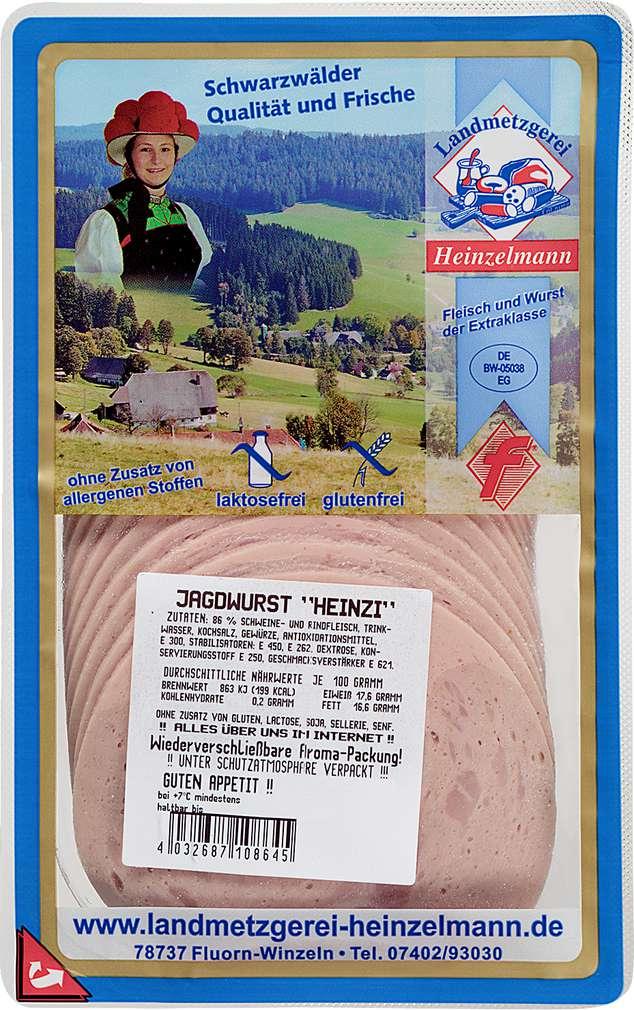 Abbildung des Sortimentsartikels Landmetzgerei Heinzelmann Jagdwurst 125g