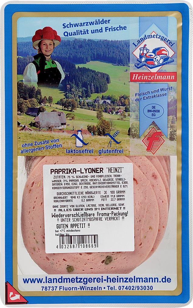 Abbildung des Sortimentsartikels Landmetzgerei Heinzelmann Paprika-Lyoner 125g