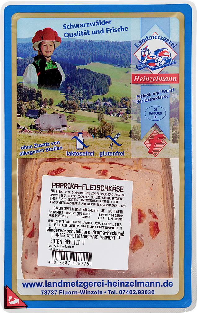 Abbildung des Sortimentsartikels Landmetzgerei Heinzelmann Papika-Fleischkäse 125g