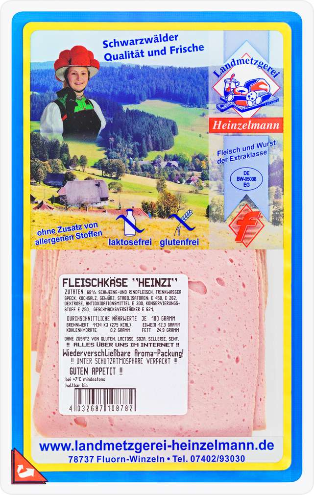 Abbildung des Sortimentsartikels Landmetzgerei Heinzelmann Fleischkäse fein 125g