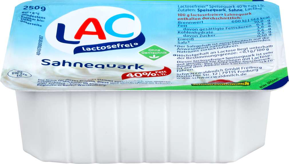 Abbildung des Sortimentsartikels Schwarzwaldmilch LAC Sahnequark laktosefrei 40% Fett 250g