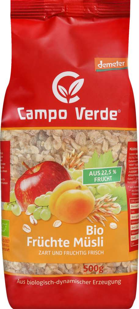 Abbildung des Sortimentsartikels Campo Verde Demeter Früchtemüsli 500g