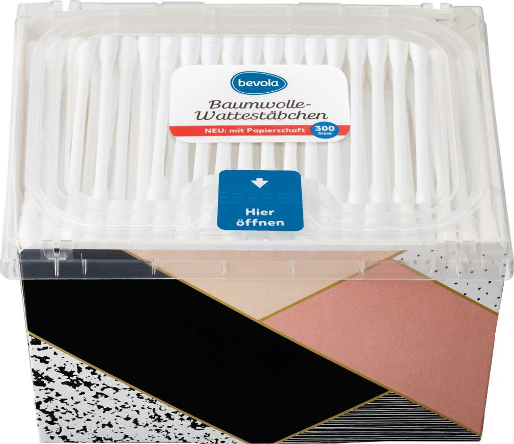 Abbildung des Sortimentsartikels Bevola Wattestäbchen Box 300 Stück