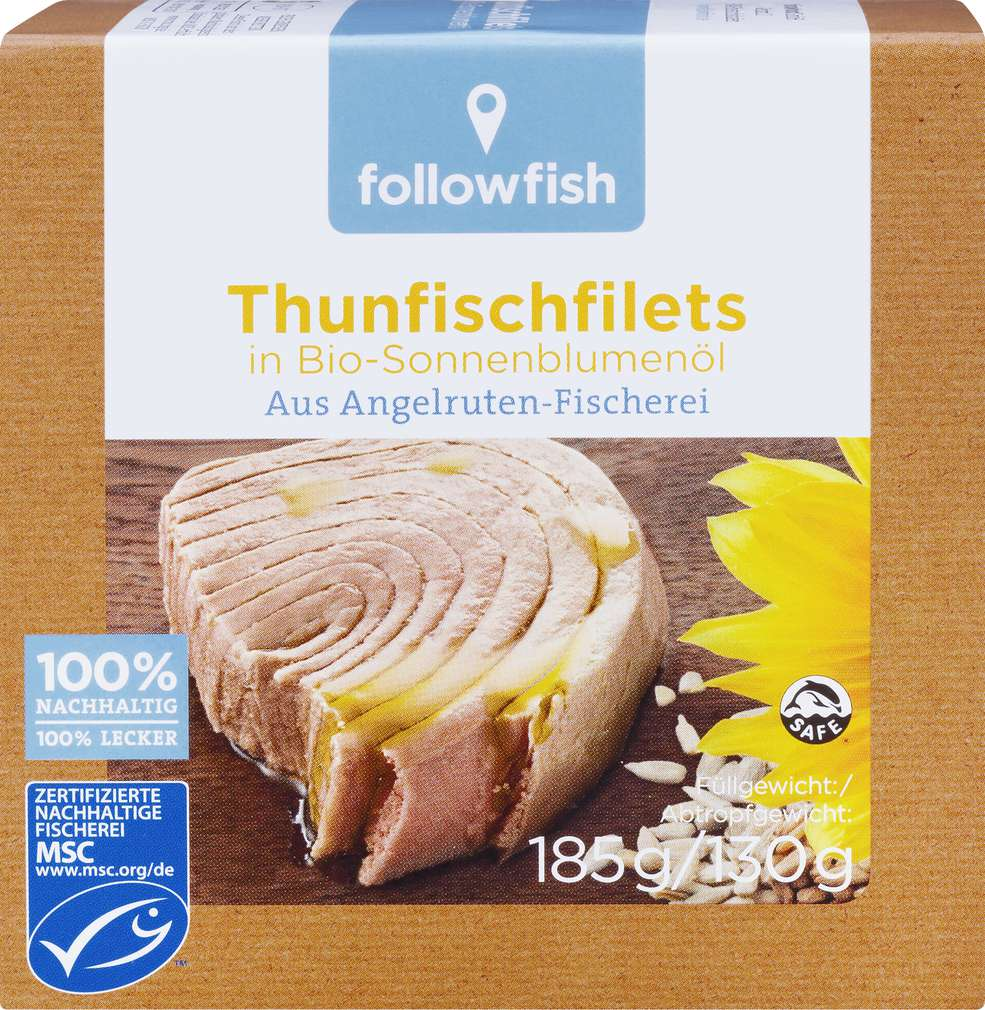 Abbildung des Sortimentsartikels followfish Thunfischfilets in Bio-Sonnenblumenöl 185g