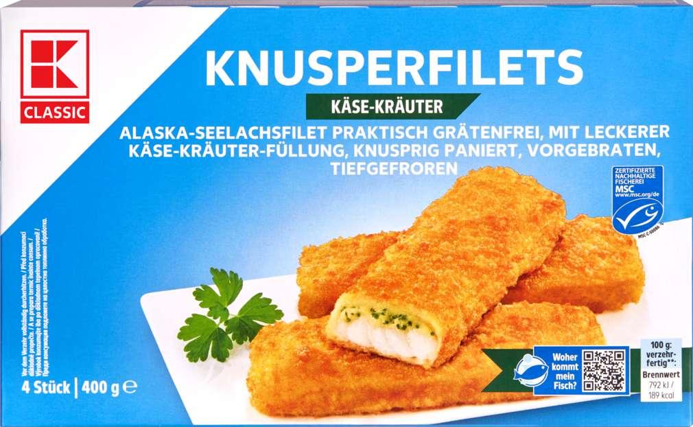 Abbildung des Sortimentsartikels K-Classic Knusperfilet Käse-Kräuter 400g