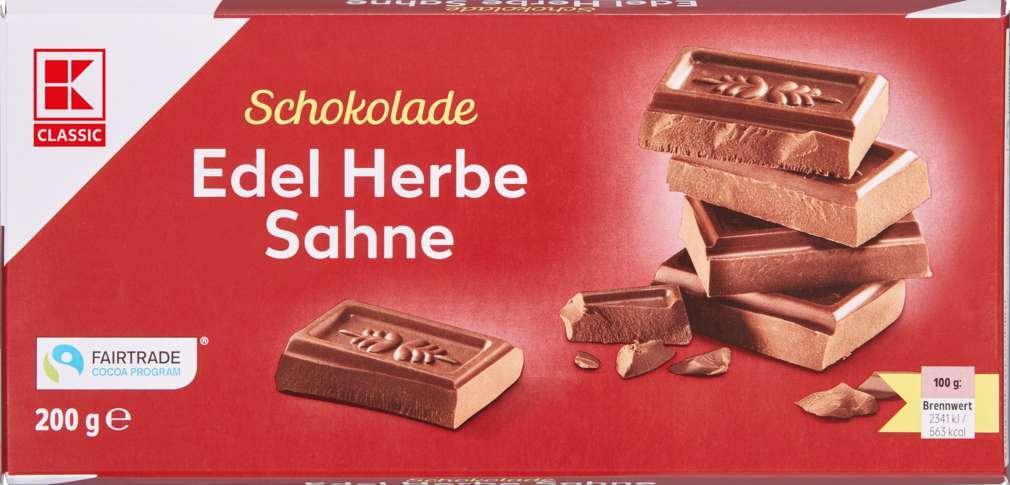 Abbildung des Sortimentsartikels K-Classic Edel Herbe Sahne Schokolade 200g