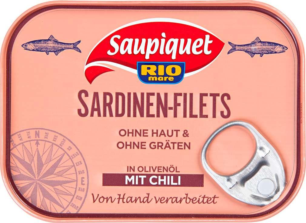Abbildung des Sortimentsartikels Saupiquet Sardinen-Filets in Olivenöl mit Chili