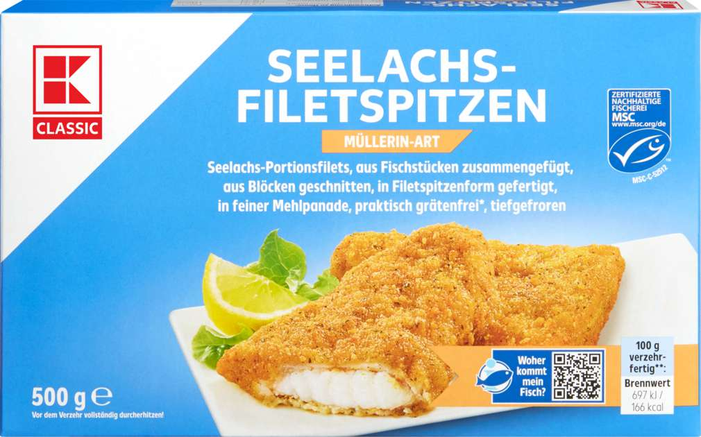 Abbildung des Sortimentsartikels K-Classic Seelachsspitzen MSC Müllerinnen Art 500g