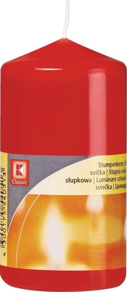 Abbildung des Sortimentsartikels K-Classic Edelstumpenkerze rot 10x5cm