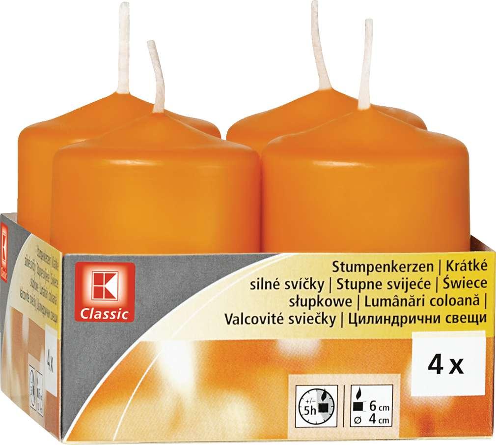 Abbildung des Sortimentsartikels K-Classic Edelstumpenkerze orange 6x4cm 4 Stück