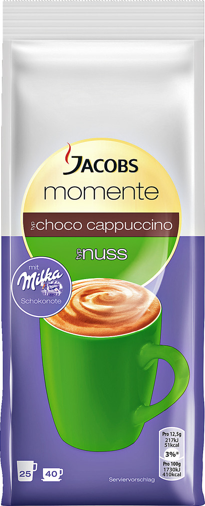 Abbildung des Sortimentsartikels Jacobs Momente Choco Cappuccino Nuss mit Milka 500g