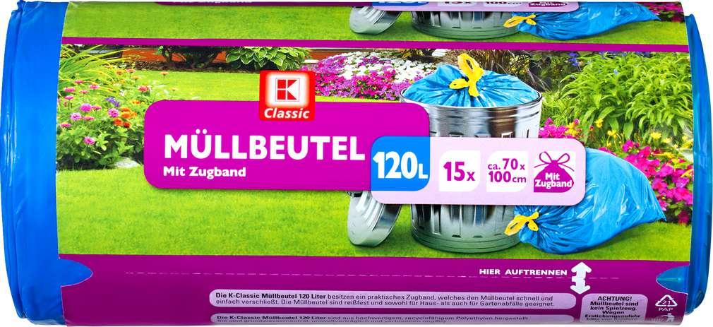 Abbildung des Sortimentsartikels K-Classic Müllbeutel 120 Liter 15 Stück