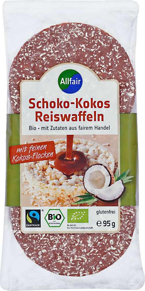 Abbildung des Sortimentsartikels Allfair Reiswaffeln Vollmilch-Kokos 95g
