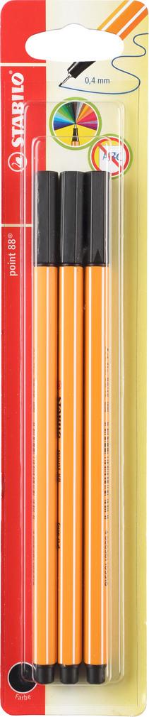 Abbildung des Sortimentsartikels Stabilo Fineliner schwarz 3 Stück