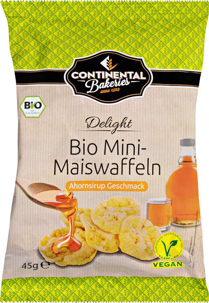 Abbildung des Sortimentsartikels Continental Bakeries Delight Bio Mini-Maiswaffeln Ahornsirup Geschmack 45g