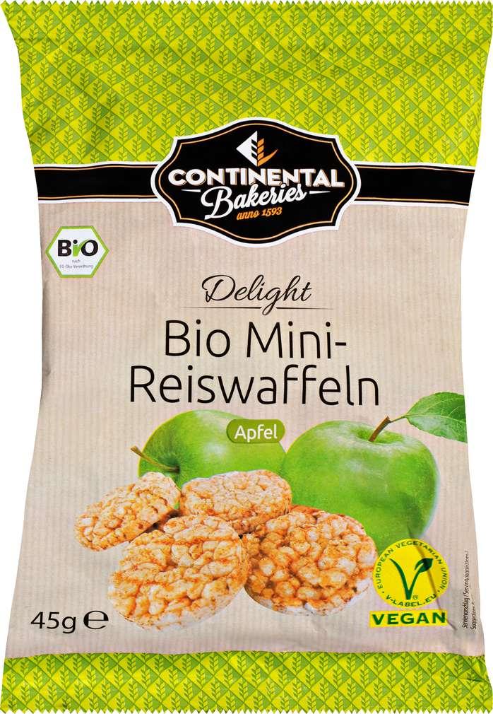 Abbildung des Sortimentsartikels Continental Bakeries Delight Bio Mini-Reiswaffeln Apfel 45g