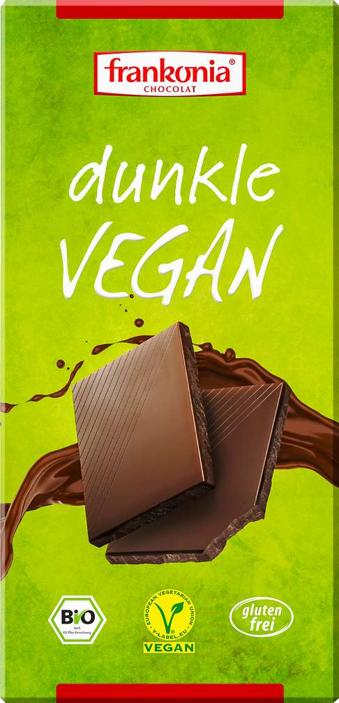 Abbildung des Sortimentsartikels Frankonia Chocolat Dunkle Vegan Zartbitterschokolade 100g