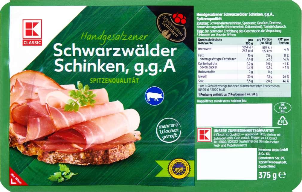 Abbildung des Sortimentsartikels K-Classic Schwarzwälder Schinken 375g