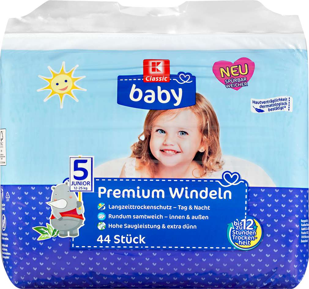 Abbildung des Sortimentsartikels K-Classic Baby Windeln Junior 44 Stück