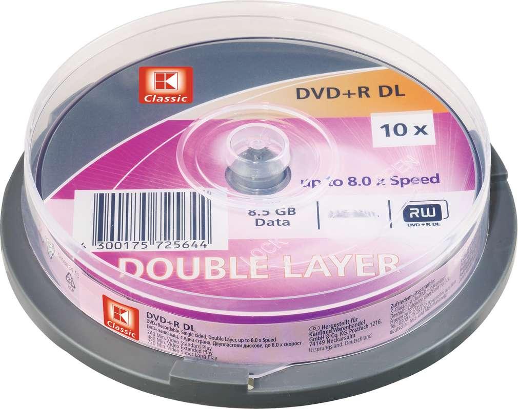 Abbildung des Sortimentsartikels K-Classic DVD-R DL 8.5GB Data 10 Stück